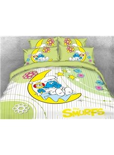 Baby Smurf with Moon Yellow Stars Printed 4-Piece Bedding Sets/Duvet Covers