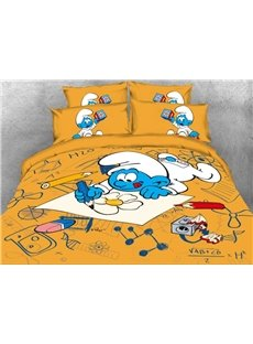 Baby Painter Smurf Printed 4-Piece Bedding Sets/Duvet Covers