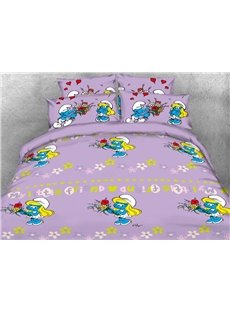 Smurfette Holding Flower Bouquet Printed 4-Piece Bedding Sets/Duvet Covers