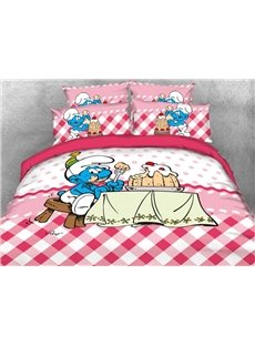 Greedy Smurf Eating Birthday Cake Printed 4-Piece Bedding Sets/Duvet Covers