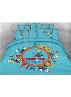 Soccer Smurf the Smurfs Village Building 4-Piece Bedding Sets/Duvet Covers
