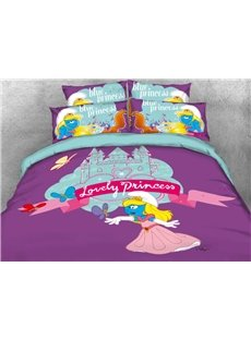 Princess Smurfette with Castle Butterfly Printed 4-Piece Bedding Sets/Duvet Covers