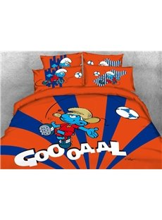 Soccer Smurf Goal Printed Contrast Color 4-Piece Bedding Sets/Duvet Covers