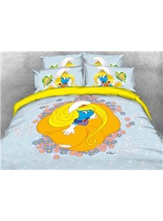 Princess Smurfette with Yellow Dress Printed 4-Piece Bedding Sets/Duvet Covers