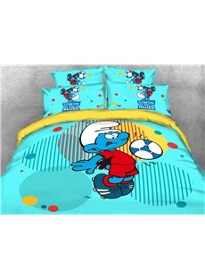Soccer Smurf with Colorful Circles Printed 4-Piece Blue Bedding Sets/Duvet Covers