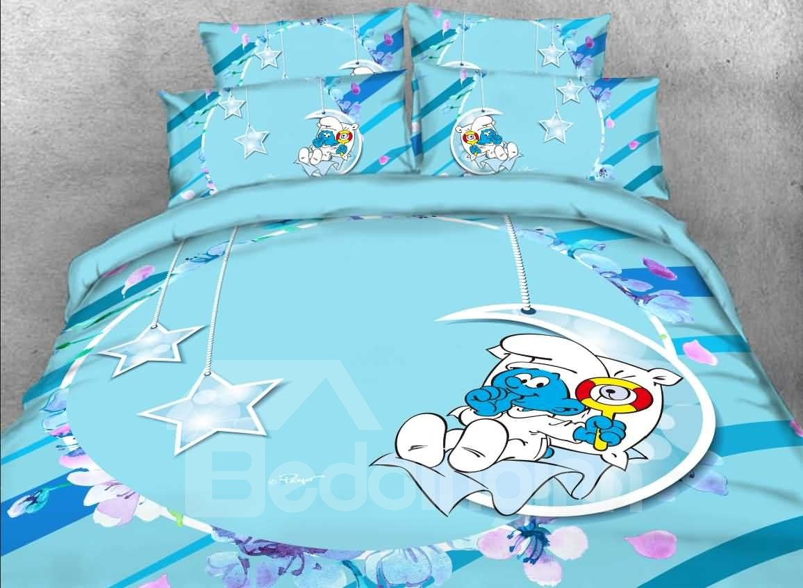 Baby Smurf with Moon Stars Printed 4-Piece Blue Bedding Sets/Duvet Covers