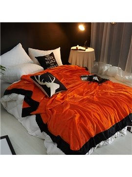 Solid Sweet Orange Plush with Black Edge Super Soft Fluffy Bed Blanket