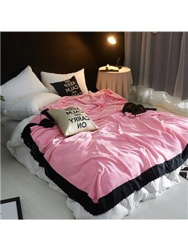 Solid Romantic Pink Plush with Black Edge Super Soft Fluffy Bed Blanket
