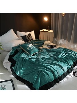 Solid Green Plush with Black Edge Super Soft Fluffy Bed Blanket