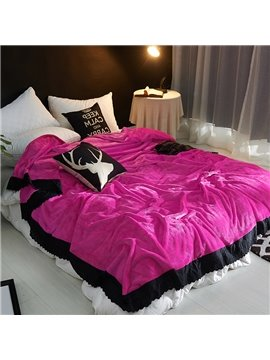 Solid Rose Red Plush with Black Edge Fluffy Bed Blanket