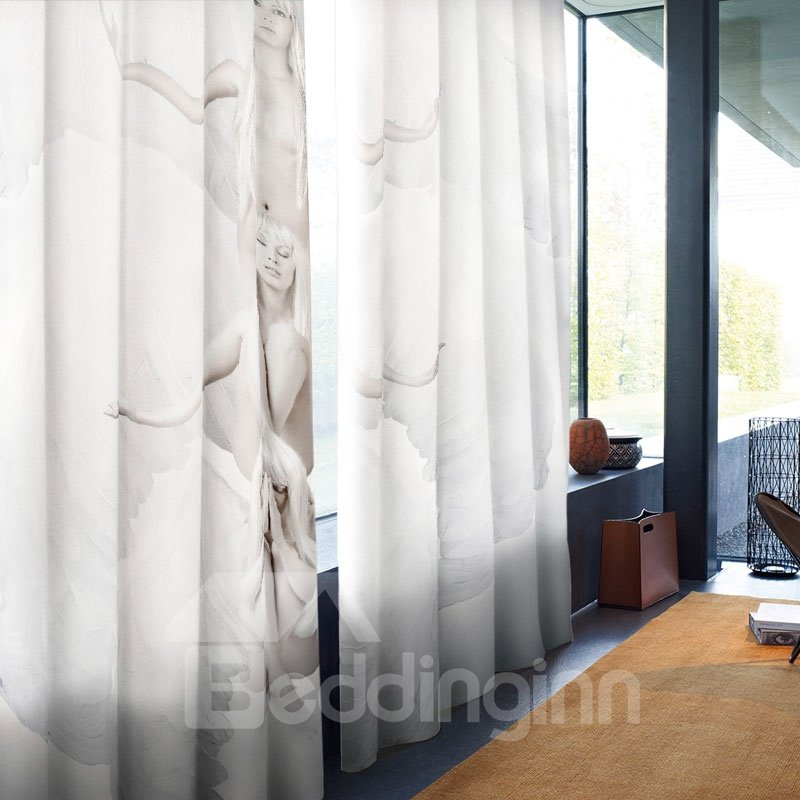 3D White Angels Printed Polyester Decorative Creative Custom Curtain for Living Room