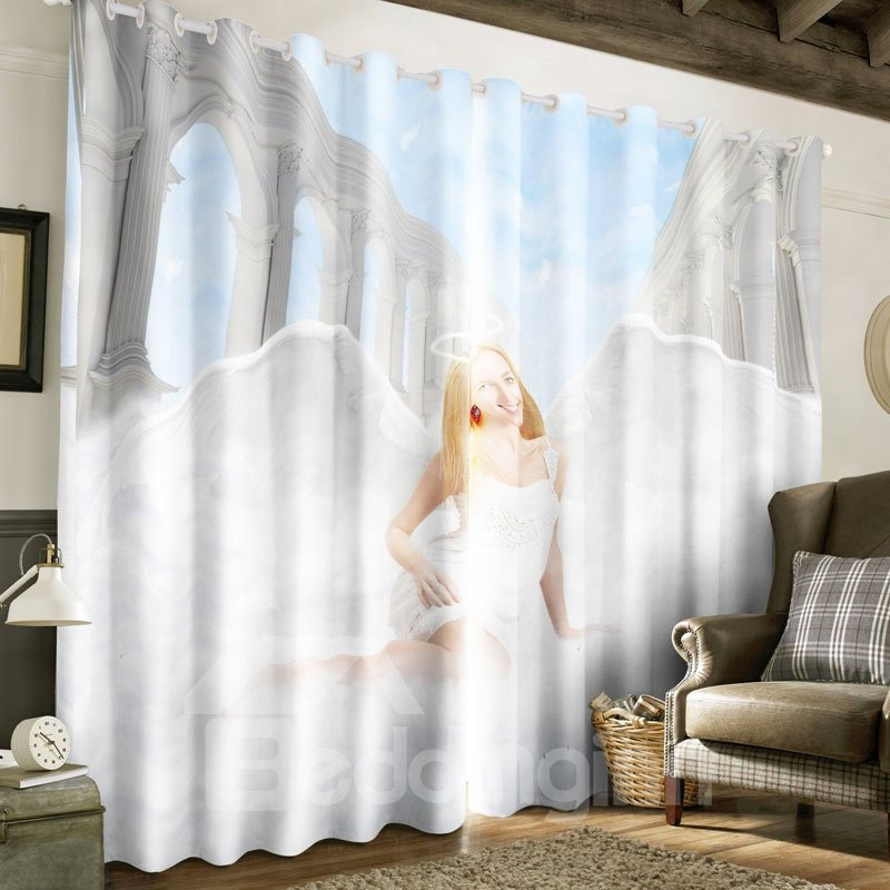 3D White Angel Printed Polyester Decorative Custom Curtain for Living Room