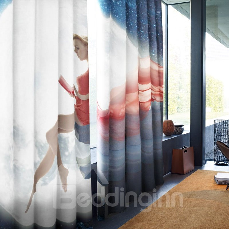 3D Attractive Lady with Red Dress Printed 2 Panels Decorative Custom Window Drape