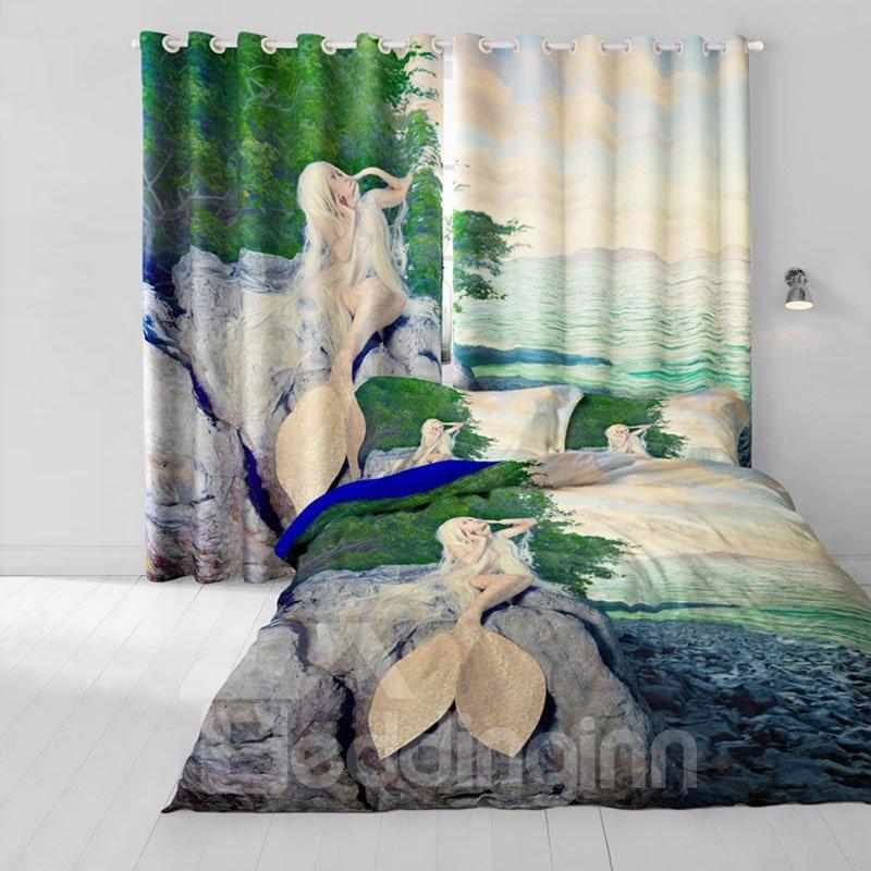 3D Beautiful Mermaid on the Seaside Printed 2 Panels Decorative Living Room Curtain