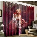3D Dreamy Lady with a Red Rose Printed Polyester Custom Window Curtain
