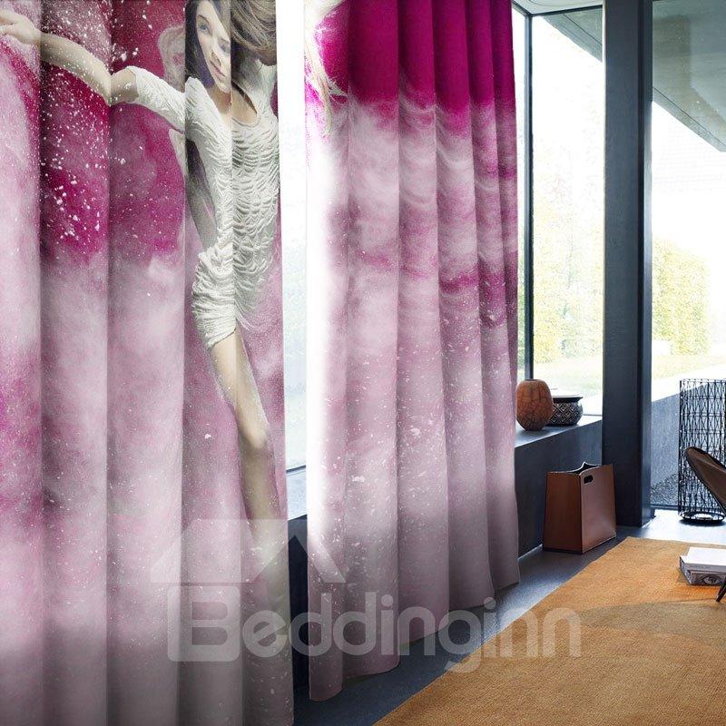 3D Dancing Lady Printed Dreamy Purple 2 Panels Custom Living Room Curtain