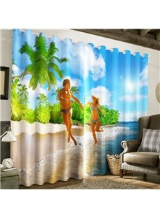 3D Couple in the Seaside Printed Beach Scenery Custom Living Room Curtain