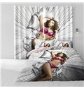 3D Attractive Lady Printed Thick Polyester Custom Decorative and Blackout Curtain