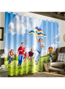 3D Children and Kite under Blue Sky Printed 2 Panels Polyester Custom Living Room Curtain