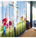 3D Children and Kite under Blue Sky Printed 2 Panels Polyester Custom Living Room Curtain