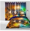 Three Beautiful Girls with Magic Lamp Printed 2 Panels Decorative and Blackout Curtain