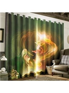 3D Pretty Girl and Magic Lamp Printed Fairy Tale 2 Panels Custom Living Room Curtain