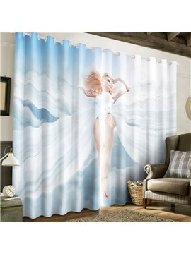 3D Pretty Lady with White Dress Printed 2 Panels Custom Living Room Curtain