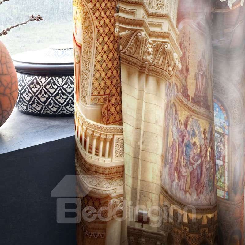 3D Charming Lady in Grand Church Printed Thick Polyester 2 Panels Custom Curtain