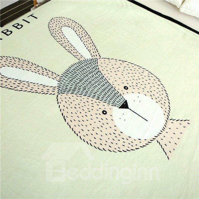 Cartoon Rabbit Printed Plush Reversible Sherpa Nordic Fluffy Bed Blanket