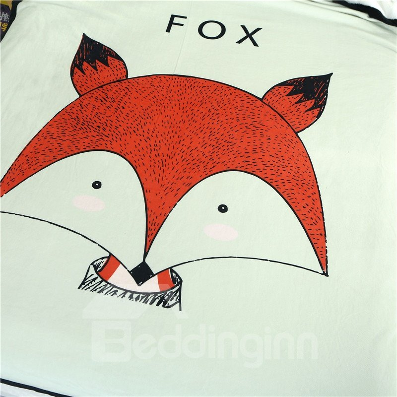Red Fox Printed Plush Reversible Sherpa Nordic Fluffy Bed Blanket