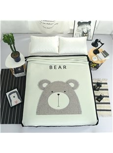 Grey Bear Printed Plush Reversible Sherpa Nordic Fluffy Bed Blanket