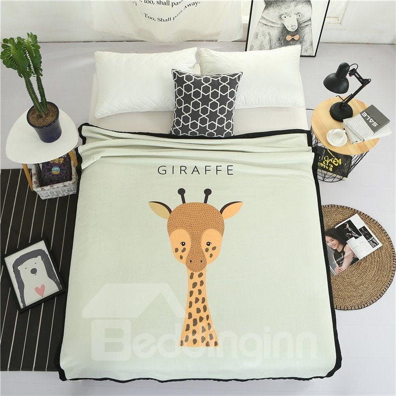 Cute Giraffe Printed Plush Reversible Sherpa Nordic Fluffy Bed Blanket