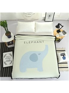 Blue Elephant Printed Plush Reversible Sherpa Nordic Fluffy Bed Blanket