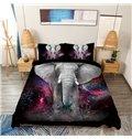 Vivilinen Elephant Galaxy Printed 4-Piece 3D Black Bedding Sets/Duvet Covers