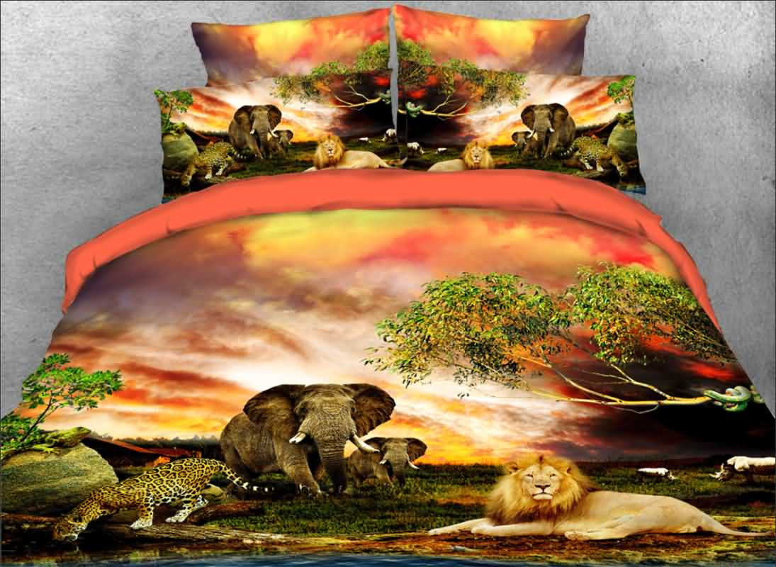 Vivilinen 3D African Animals Flaming Clouds Natural Scenery 4-Piece Bedding Sets/Duvet Covers