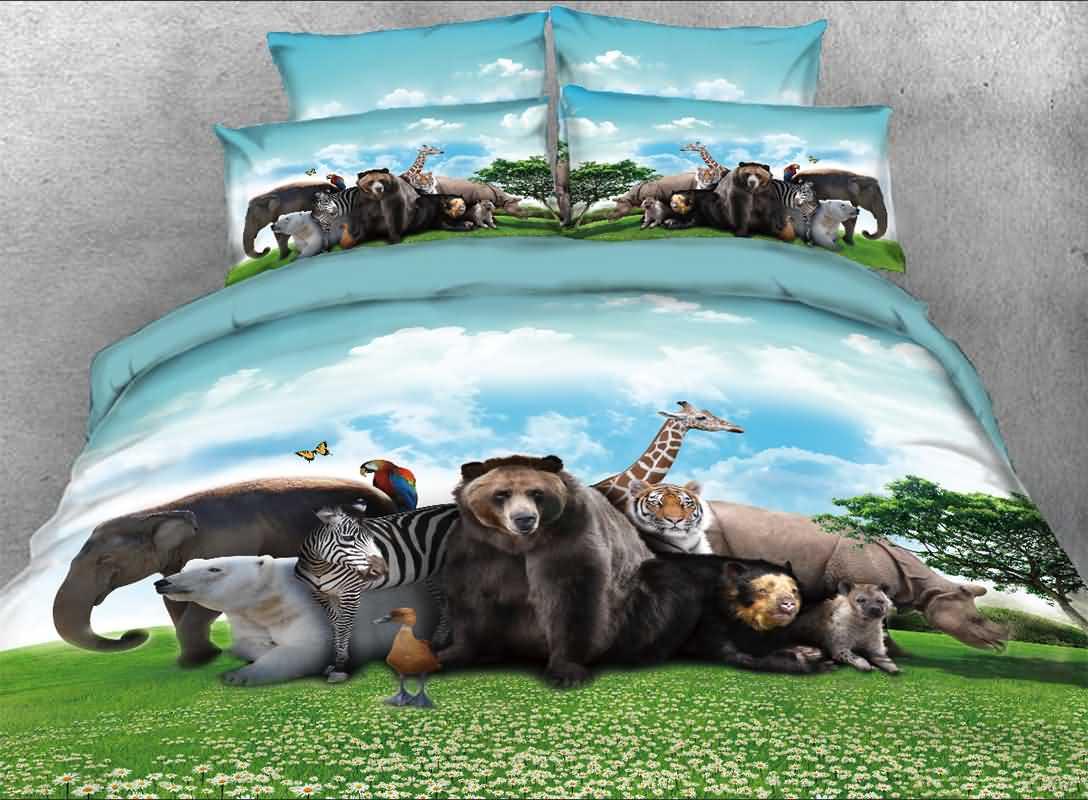 Safari Animals under Blue Sky Natural 3D 4-Piece Bedding Sets/Duvet Covers