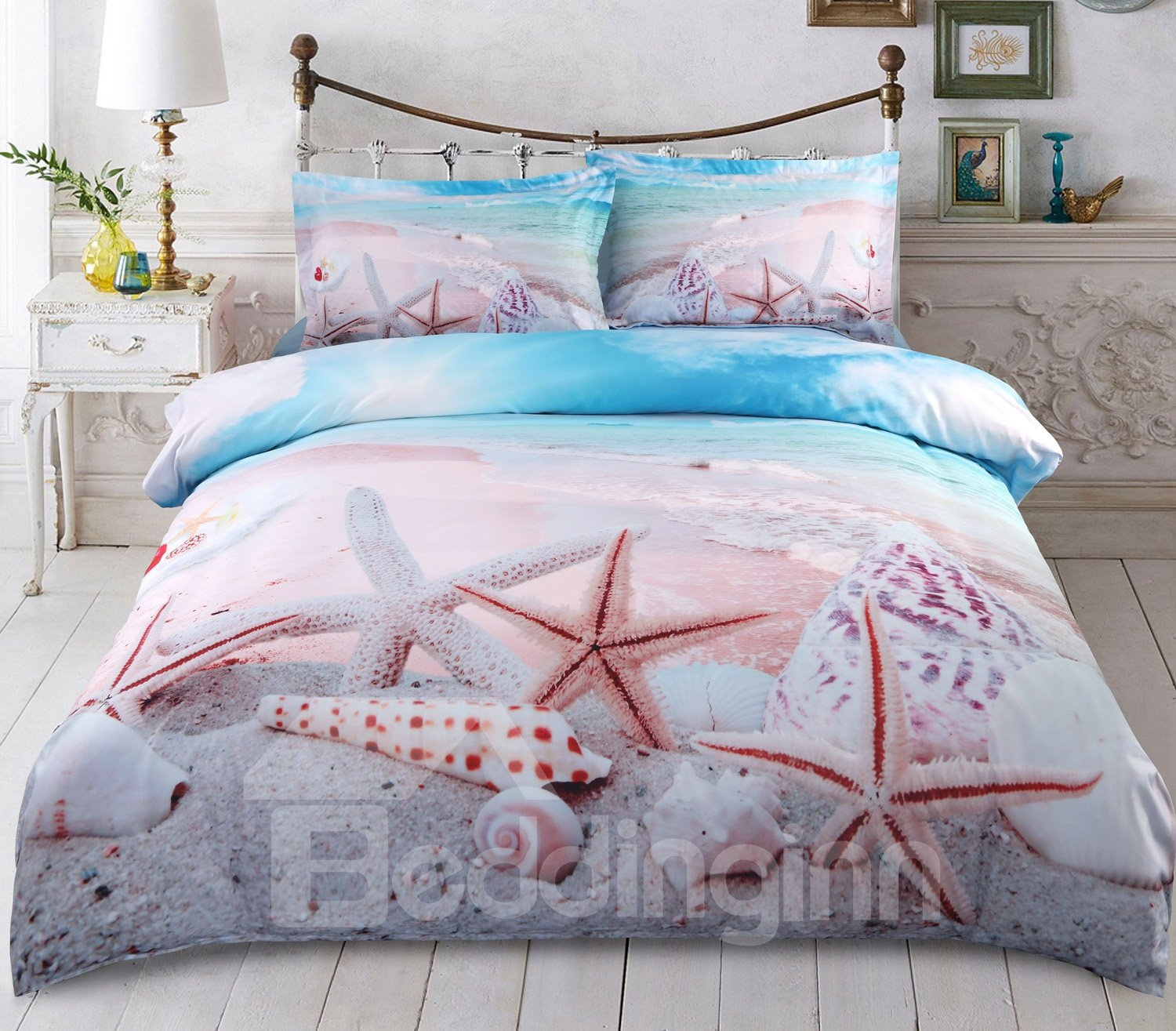 3d Starfish Shells Beach Printed 5 Piece Comforter Sets Pic
