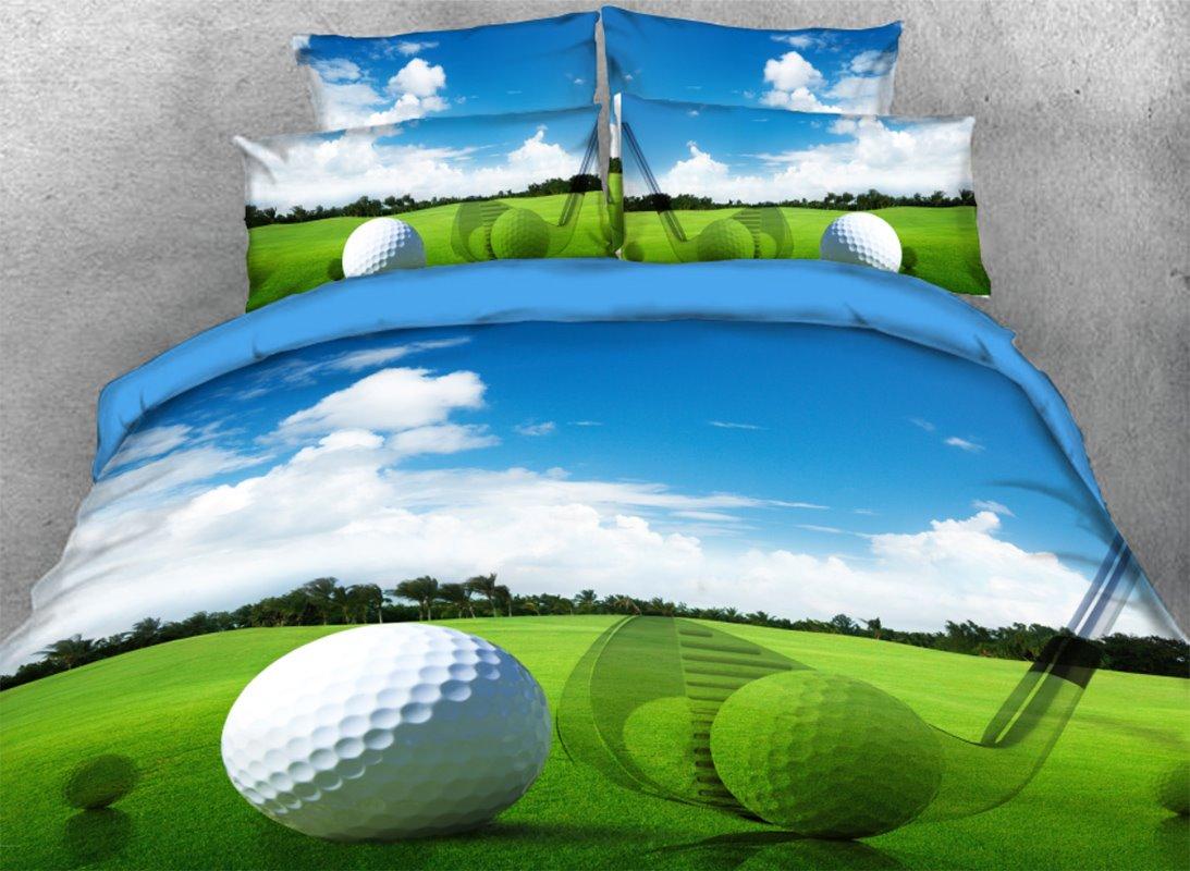 Golf Balls with Green Grass under Blue Sky 3D 4-Piece Bedding Sets/Duvet Covers