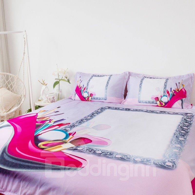 Onlwe 3D Feminine High Heels Makeup Tools 4-Piece Bedding Sets/Duvet Covers
