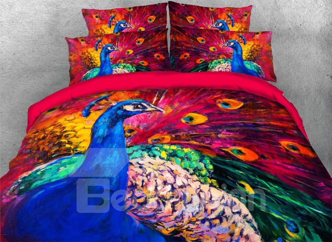 Vivilinen 3D Splendid Peacock Oil Painting Style 4-Piece Bedding Sets/Duvet Covers