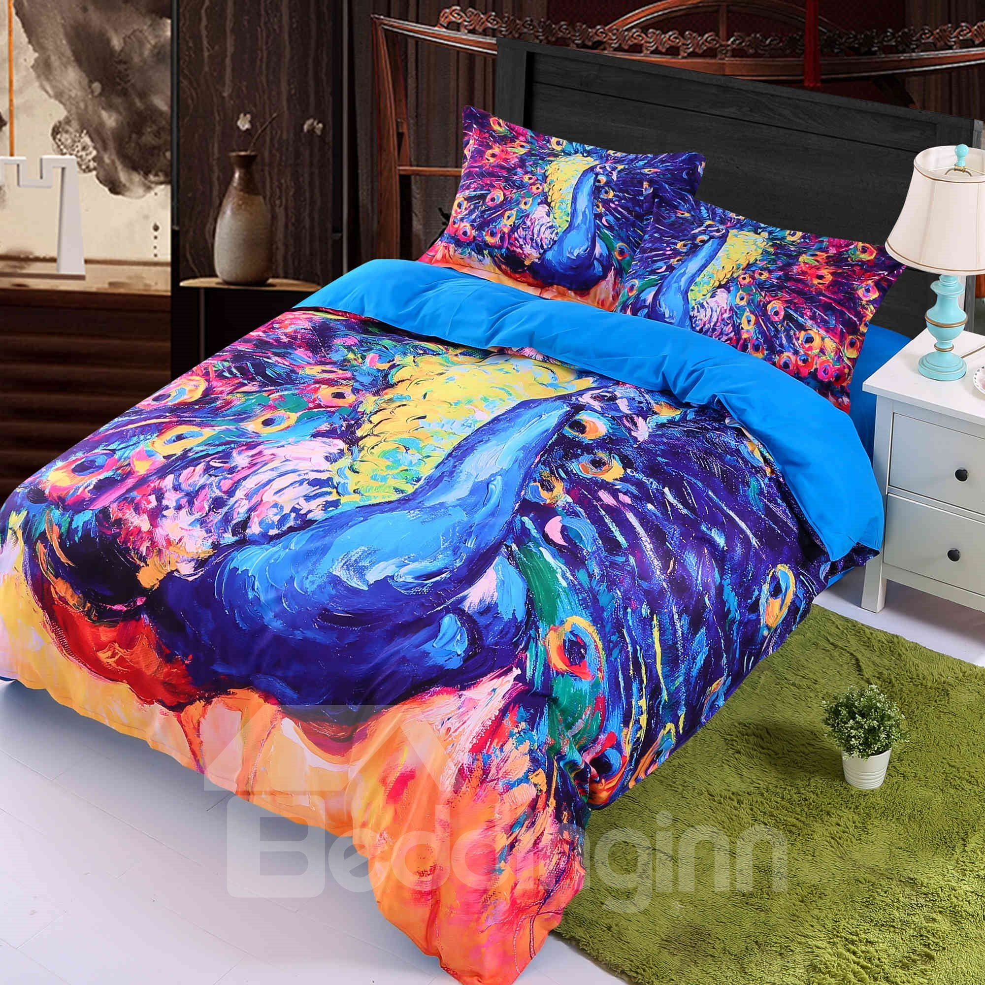Peacock Spread Tail Feathers Luxury 3D 4-Piece Bedding Sets/Duvet Covers