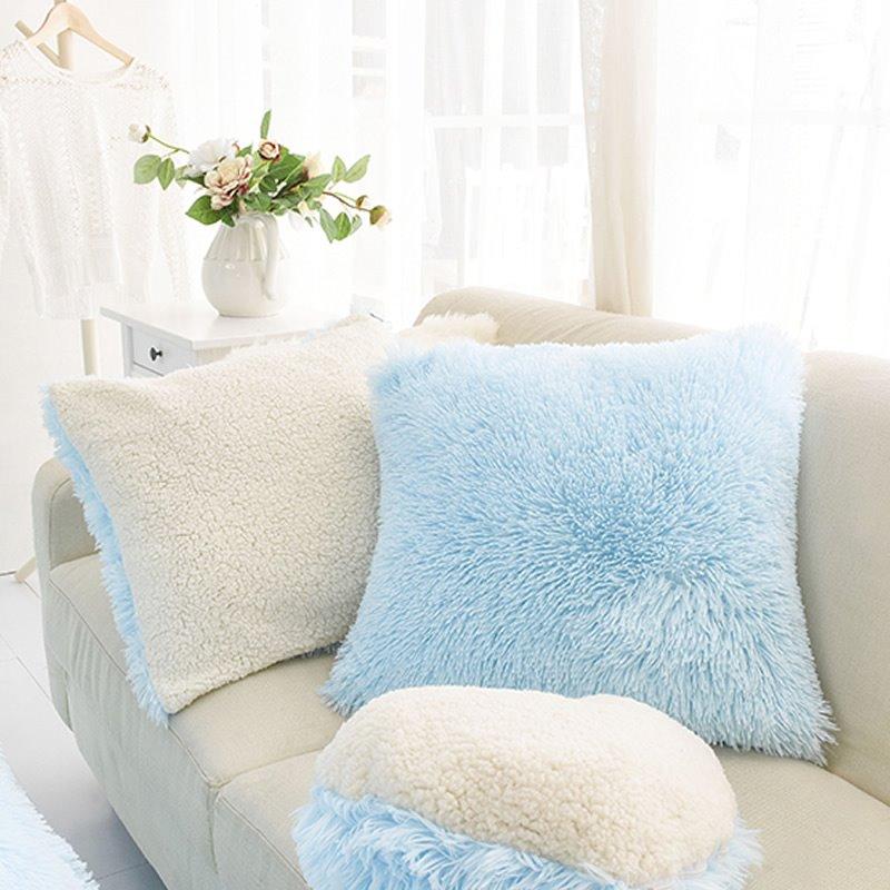 Light Blue Square Decorative Fluffy Throw Pillows