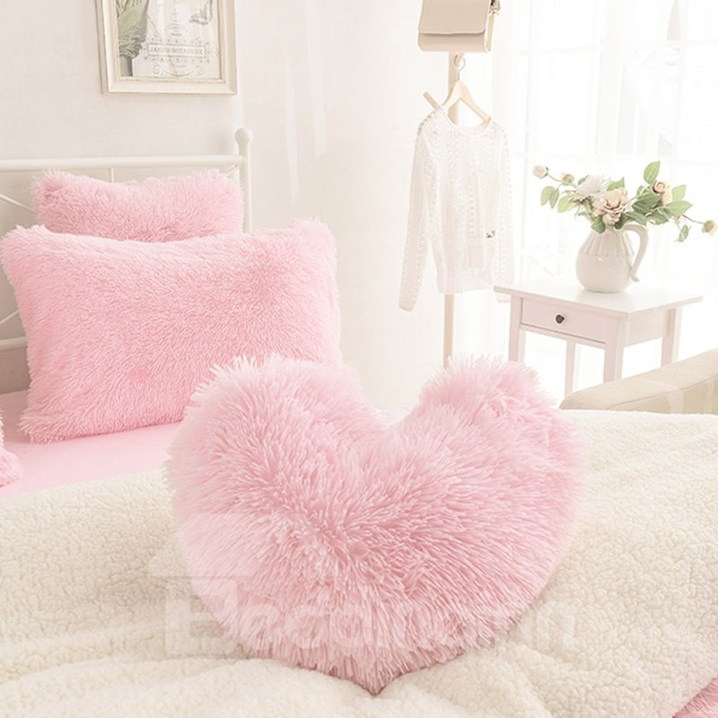 Pink Heart Shape Decorative Fluffy Throw Pillows
