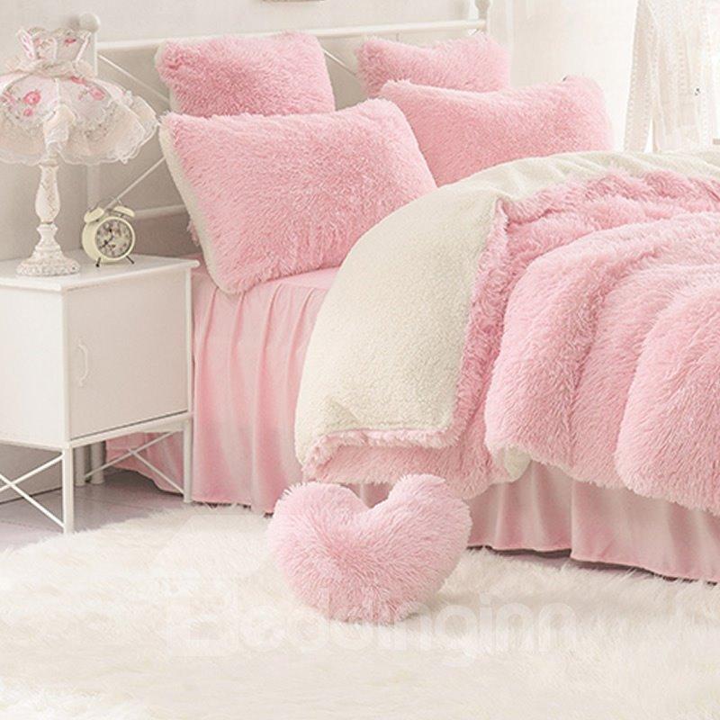 Pink Heart Shape Decorative Fluffy Throw Pillows