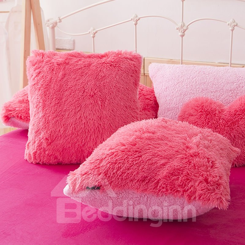 Rose Red One Piece Square Decorative Fluffy Throw Pillows