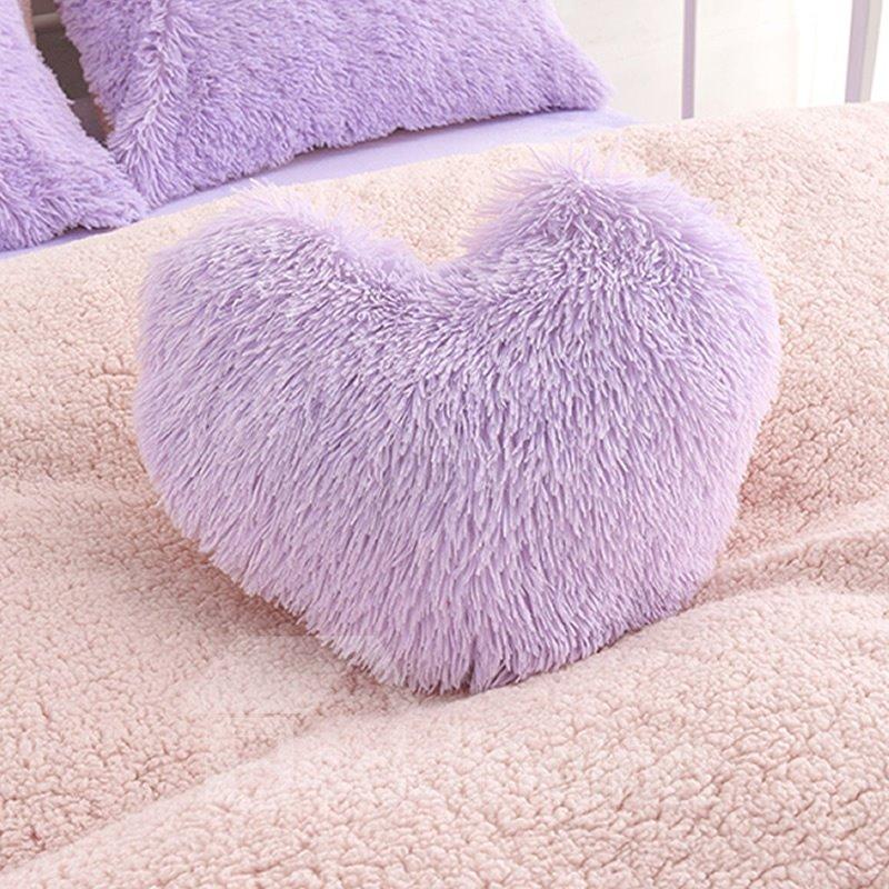 Purple Plush Heart Shape One Piece Decorative Fluffy Throw Pillow