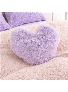 Purple Plush Heart Shape Decorative Fluffy Throw Pillow