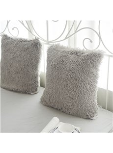 Grey Plush One Piece Decorative Square Throw Pillow