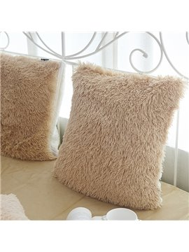 Solid Camel Square One Piece Decorative Fluffy Throw Pillows