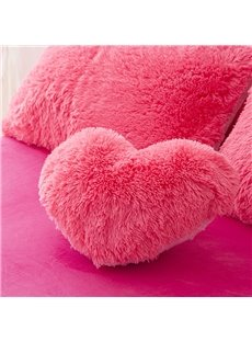 Rose Red Heart Shape Decorative Fluffy Throw Pillows